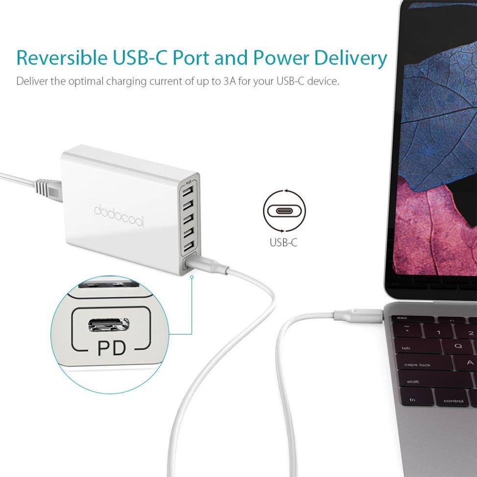 dodocool 60W 6ポート USB急速充電器 USB電源アダプタ USB 壁式チャージャー 30W 1つUSB-C PDポート 30W 五つUSB-Aポート取り外し可能なAC電源ケーブルに付き Apple MacBook Pro/MacBook/iPhone /Samsungなどに対応(ホワイト)