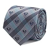 DC Comics Superman Gray Plaid Tie, Officially Licensed