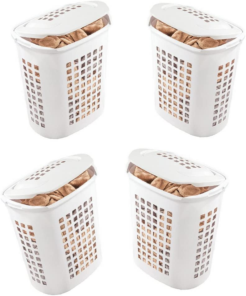 Amazon Com Extra Large Laundry Basket With Lid 4 Pack X Large Size 80l Bin Capacity Tall Storage Container Hamper Ebook Home Kitchen