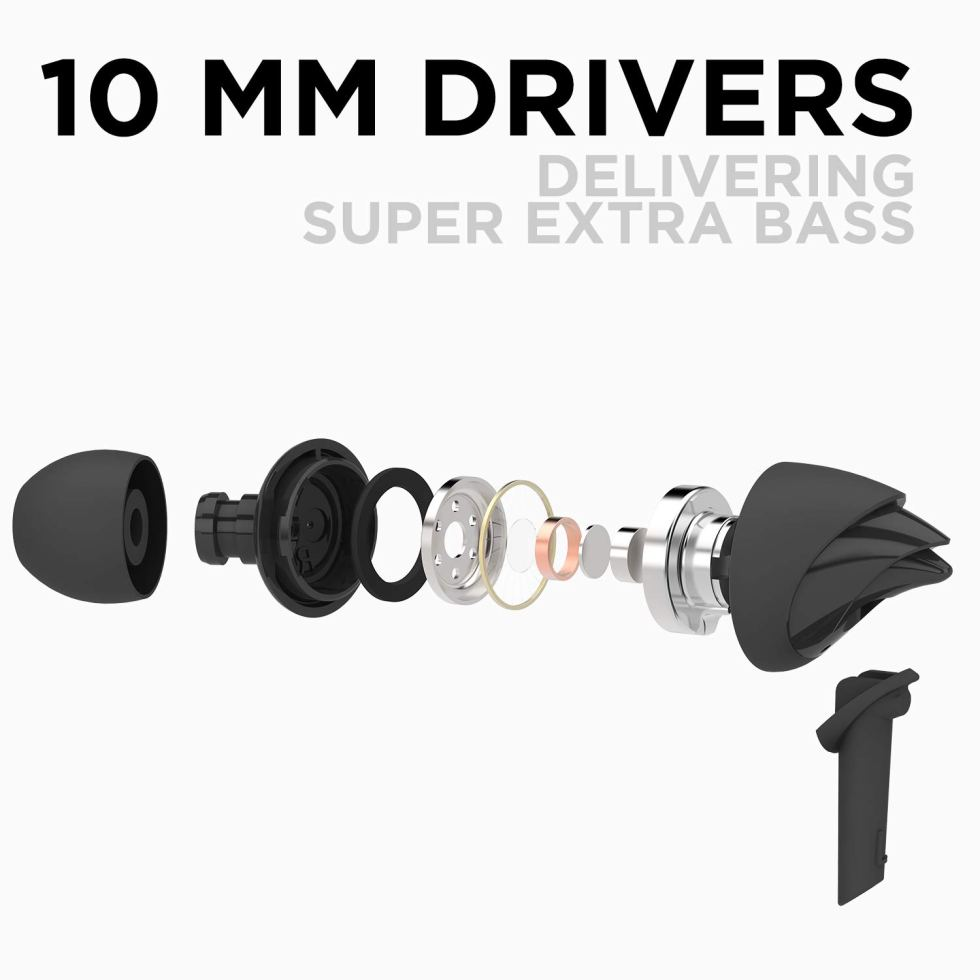 boAt Bass Heads 100 in-Ear Wired Earphones with Super Extra Bass, in-line Mic, under Hands free Device