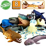 ValeforToy Ocean Sea Animal, 8' Rubber Bath Toy Set(8 Pack Random), Food Grade Material TPR Super Stretches, Some Kinds Can Change Colour, Floating Bathtub Toy Party Shark Octopus Figure