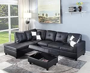 Amazon Com Juntoso Left Hand Facing Chaise Modern Living Room L Shaped Sectional Sofa Set Black Furniture Decor