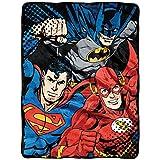 "Warner Brothers DC Comics Justice League,League Trio Micro Raschel Throw Blanket, 46"" x 60"""