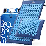 New Version Professional Acupressure Mat and Pillow Set from Organic Linen - Best Acupuncture Mat Gift - Back and Neck Pain Relief Reflexology Mat - for Women and Men - Stress and Muscle Relief(Blue)