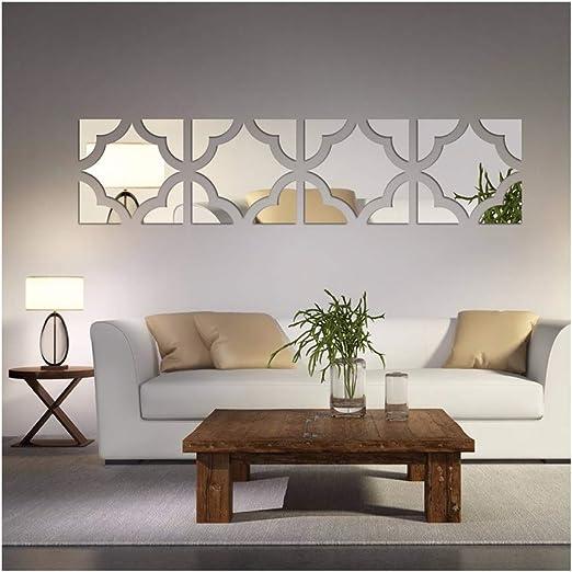 Amazon Com 20pcs Set Geometric Art 3d Acrylic Mirror Wall Sticker Home Decor Diy Kitchen Living Room Tv Background Decoration 20x80cm Home Kitchen