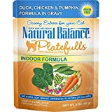 Natural Balance Platefulls Grain Free Indoor Cat Food, Chicken And Pumpkin Formula In Gravy, 3-Ounce Pouches (Pack Of 24)