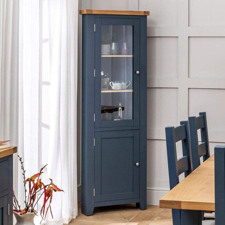 The Furniture Market Westbury Blue Painted Tall Glazed Corner Cabinet Amazon Co Uk Kitchen Home