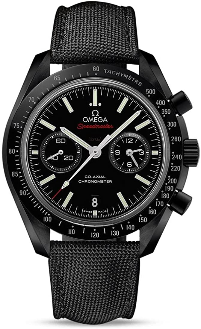 "Omega Speedmaster Co-Axial Chronograph ""Dark Side of the Moon"" Black Dial Black Fabric Mens Watch 31192445101003"