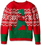 Blizzard Bay Boys Ugly Chrismas Sweater Animals, red/green/trex, 12-14 M