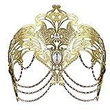 Coxeer Masquerade Mask Metal Venetian Mask Halloween Mardi Gras Mask Christmas Wedding Party Mask (Gold)