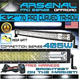 No.1 32' Curved Pro Tri-Row Led Light Bar 405w 40500LM 7D Spot Flood Combo Beam for Off Road Jeep ATV AWD SUV 4WD 4x4 RZR CanAm