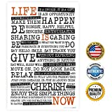 """ZENDORI ART """"Life Is NOW"""" Manifesto - Home Decor Print Decoration - Wall Quote - Made in USA (Poster on Canvas Paper, 12x18)"""