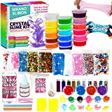 DIY Slime Kit for Girls Boys - Ultimate Glow in the Dark Glitter Slime Making Kit-18 Slime Containers, Foam Balls, Water Beads,Clear Glue,White Clay,Glitters,Mica,Tools