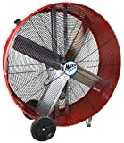 MaxxAir BF42BDRED BF42BD High Velocity 2-Speed Belt Drive Drum, Heavy Duty Potable Barrel Fan, 42-Inches, 10,000 CFM, Red