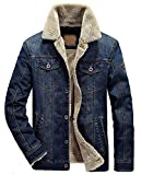 Product review for Wintie Men's Classic Fit Blue Faux Shearling Collar Slim Denim Jackets