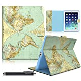 iPad Case, iPad 2/3/4 Case, HAOCOO Stylish Art Printed Flip PU Leather Stand Protective Case with Card Slots for Apple iPad 2/3/4 Generation (9.7 Inch) (World Map)