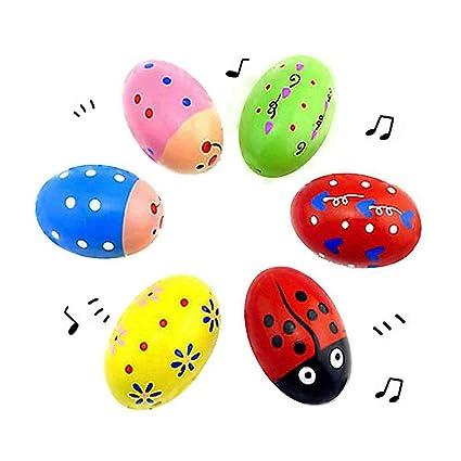 6 Wooden Percussion Musical Egg Maracas