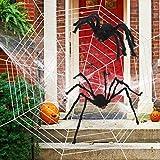 WESJOY Halloween 11.8 Ft Huge Spider Web with 2 Giant Realistic Looking Hairy Spiders Halloween Decorations Props Creepy Decor Outdoor Indoor