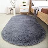Softlife Oval Area Rugs for Bedroom - 2.6' x 5.3' Modern Shaggy Floor Carpet Cute Rug for Kids Room Living Room Home Decor, Grey