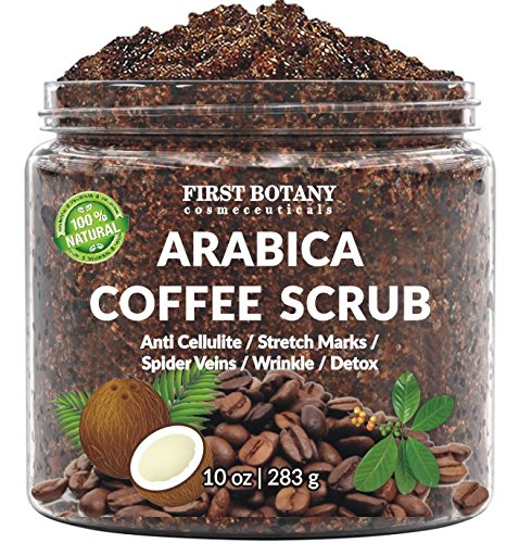 100% Natural Arabica Coffee Scrub with Organic Coffee, Coconut and Shea Butter - Best Acne, Anti Cellulite and Stretch Mark treatment, Spider Vein Therapy for Varicose Veins & Eczema 10 oz 5