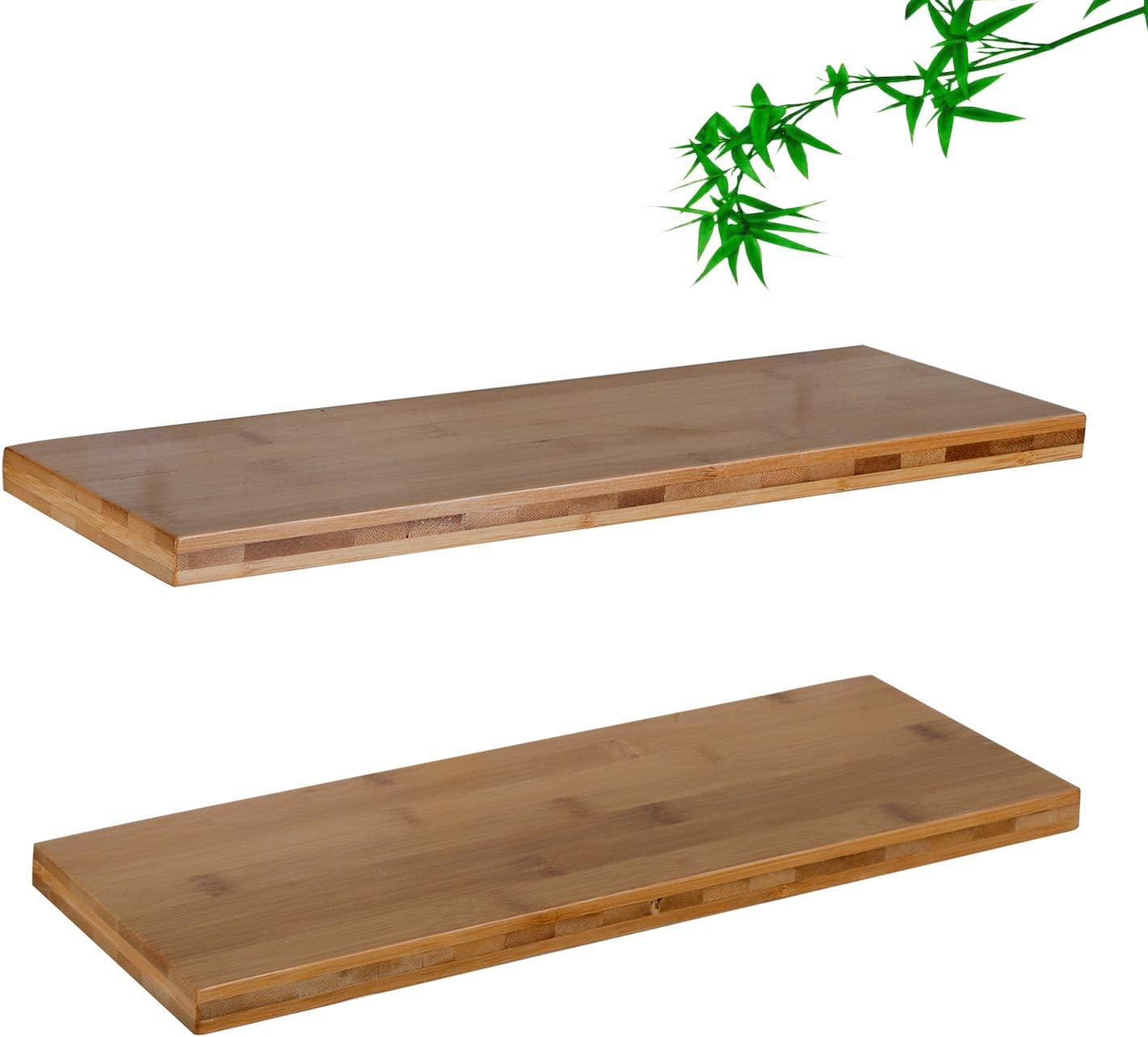 Amazon Com Floating Wooden Wall Shelves Bamboo Pack Of 2 16 Inches Waterproof Shelf Wall Mounted Decorative For Living Room Kitchen Bathroom Bedroom Office Home Decorative For Book Plants Bamboo Color Furniture Decor