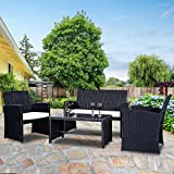 Goplus 4 PC Rattan Patio Furniture Set Garden Lawn Pool Backyard Outdoor Sofa Wicker Conversation Set with Weather Resistant Cushions and Tempered Glass TableTop (Black)