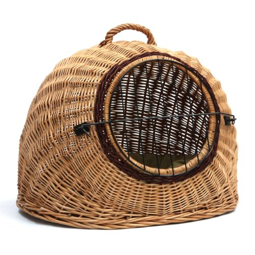Prestige Wicker Igloo Pet Carrier Basket House with Cushion, Large with FREEpillow