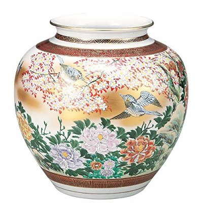 KUTANI YAKI(ware) Vase birds in Gold Flower