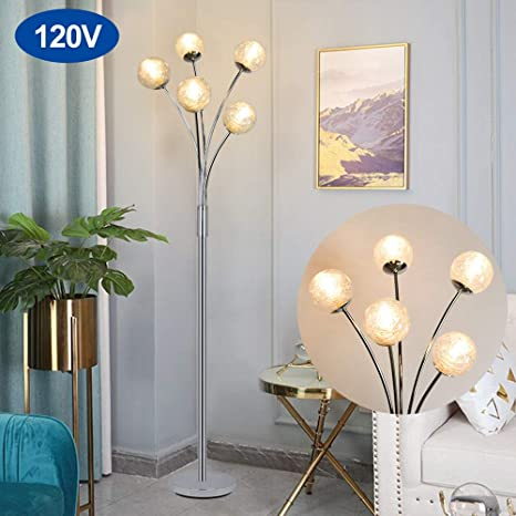 Amazon Com Modern Globe Led Floor Lamps For Living Room Dllt Standing Lamps With 5 Lights For Bedroom Tall Pole Tree Accent Lighting For Mid Century Contemporary Home G9 Bulb Not Included Glass Shade Silver