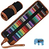 Intsun 50 Colored Pencils Set, Color Pencils Drawing Kit with Portable Roll-Up Canvas Bag Ideal for Adults, Artists, Sketchers & Children (Pouch Bag, Colored Pencils and Sharpener Included)
