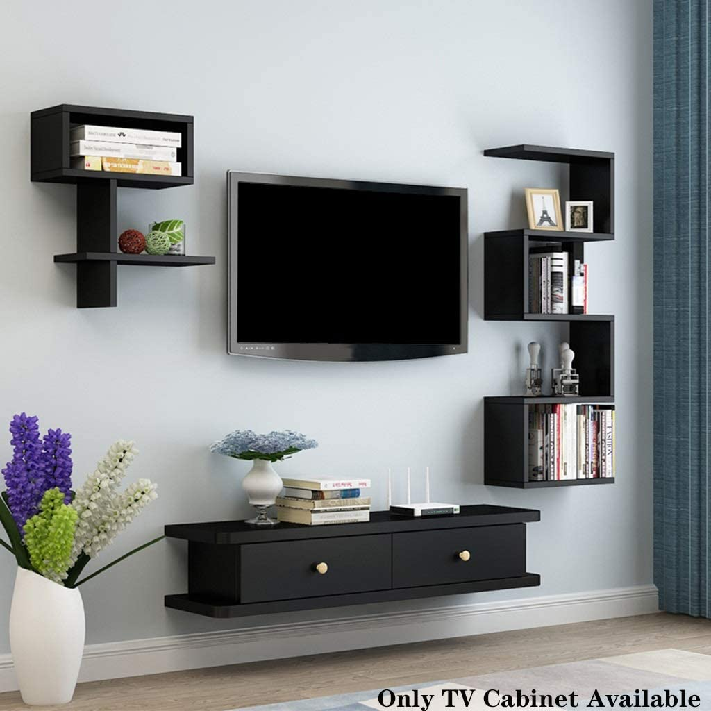 Amazon Com Wall Mounted Tv Stand Floating Shelf Tv Cabinet Wall Media Console Tv Console With Open Storage Shelf Media Entertainment Storage Shelf Floating Hutch Storage Shelf Media Audio Video Console Home Kitchen