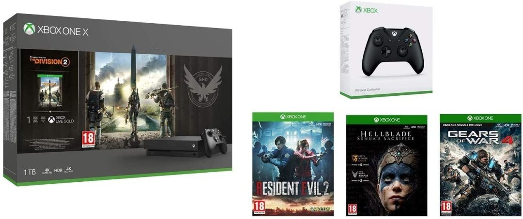 Pack Xbox One X The Division 2 + 2e Manette Xbox Noire + Resident Evil 2 + HellBlade Senua's Sacrifice+ Gears Of War 4