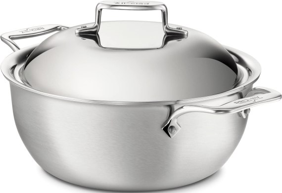 All-Clad BD55500 D5 Brushed 18/10 Stainless Steel 5-Ply Bonded Dishwasher Safe Dutch Oven with Domed Lid Cookware, 5.5-Quart, Silver