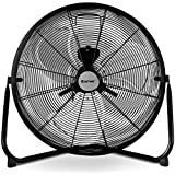 COSTWAY Floor Fan, 20-Inch w/360° Rotation, 3-Speed Adjustable, Commercial Industrial Grade, Metal, Heavy Duty Electric High Velocity Fan, Black