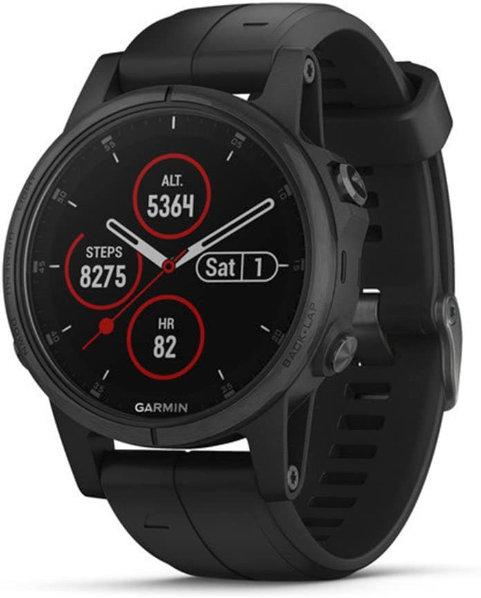 Garmin fenix 5s Plus, Smaller-Sized Multisport GPS Smartwatch, Features Color TOPO Maps, Heart Rate Monitoring, Music and Garmin Pay, Black (010-01987-02)