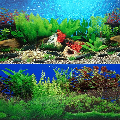 "New 9088 20"" x 48"" Fish Tank Background 2 Sided River Bed & Lake Background Aquarium 1"