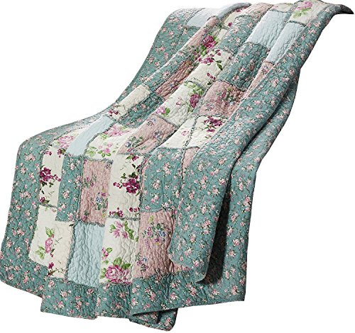 Chezmoi Collection 1-Piece Garden Floral Vintage Washed 100%-Cotton Reversible Patchwork Throw