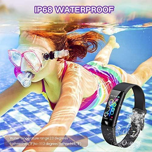 K-berho Slim Fitness Tracker for Kids Women Men,Heart Rate Monitor,IP68 Waterproof Activity Tracker for Boys&Girls,Blood Pressure,11 Sport Modes Health Smart Watch with Pedometer 6