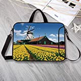 Windmill Decor Large Capacity Neoprene Laptop Bag,Rustic Dutch Landscape with Colorful Yellow Tulips European Countryside Decorative Laptop Bag for 10 Inch to 17 Inch Laptop,8.7'L x 11'W x 0.8'H