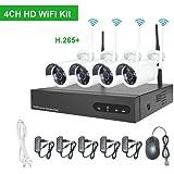 Kit Videosorveglianza WiFi Esterno Aottom 4 Canali 720P Sistema Videosorveglianza WiFi, CCTV Kit Videosorveglianza WiFi 4 Telecamere, Visione Notturna, Motion Detection, P2P, IP66 senza HDD