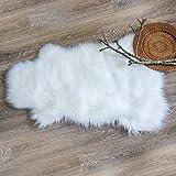 Ashler Soft Faux Sheepskin Fur Chair Couch Cover White Area Rug Bedroom Floor Sofa Living Room 2 x 3 Feet