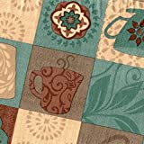 Covers For The Home Deluxe Stitched Edged Flannel Backed Vinyl Drop Tablecloth - Global Coffee Pattern - 70' Round