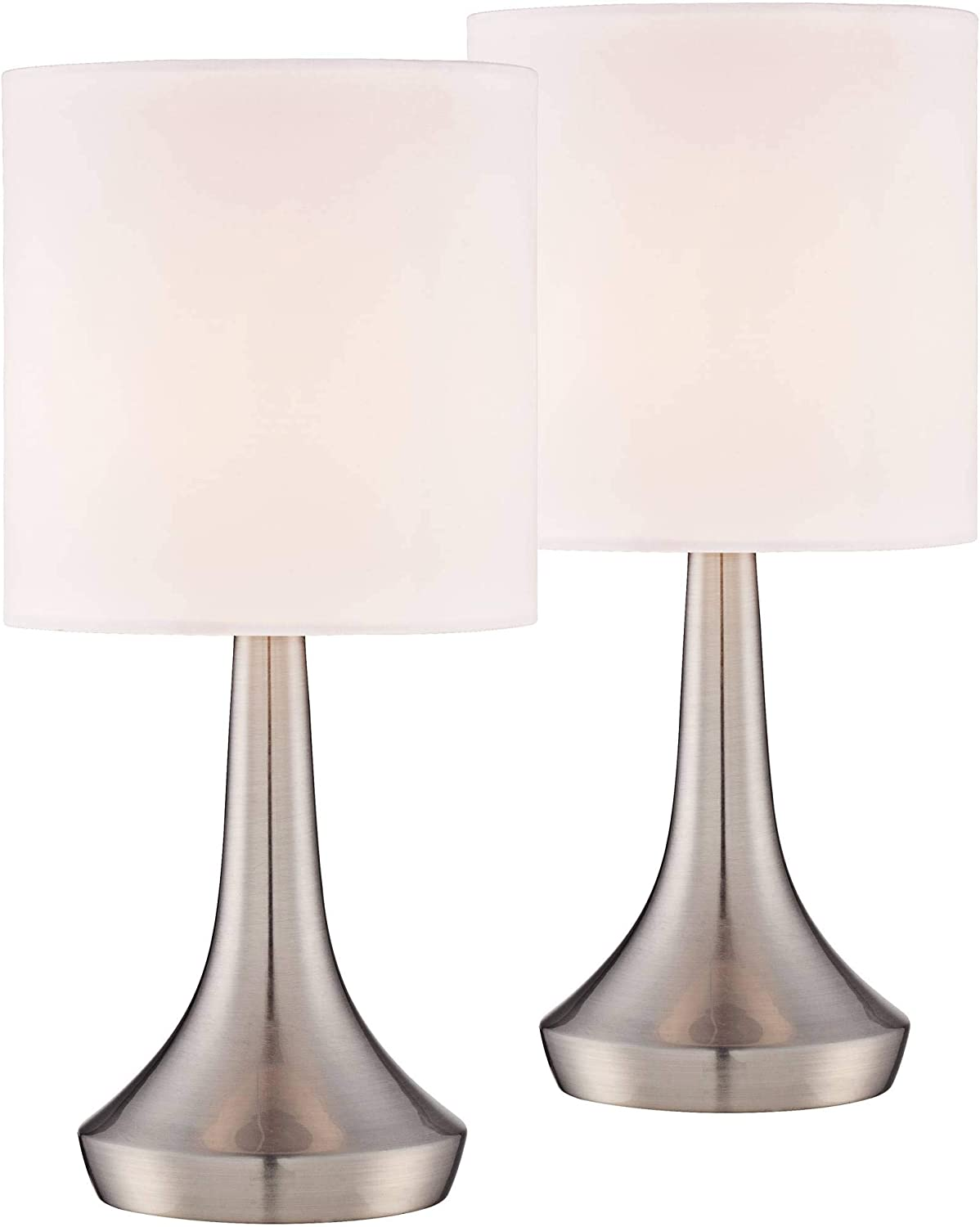 Zofia Modern Small Accent Table Lamps 13 High Set Of 2 Touch On Off Brushed Steel White Drum Shade For Bedroom Bedside Office 360 Lighting Amazon Com
