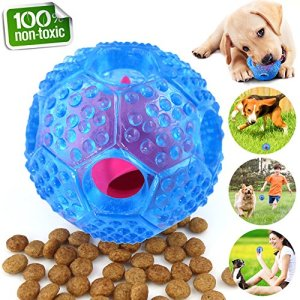 CHLEBEM Interactive Dog Toys, Dog Chew Toys Ball for Small Medium Dogs, IQ Treat Boredom Food Dispensing, Puzzle Puppy Pals Tough Durable Rubber Pet Ball, Best Cleans Teeth Dog Balls