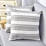 NATUS WEAVER 2 Pieces Multi Color Stripe Lined Linen Burlap Square Throw Cushion Cover Sham Euro Pillowcase with Hidden Zipper, 18' x 18'