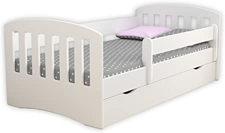 Children S Beds Home Single Bed Classic 1 For Kids Children Toddler Junior With Drawers And 8 Cm Foam Mattress Included White 180x80 Amazon Co Uk Kitchen Home