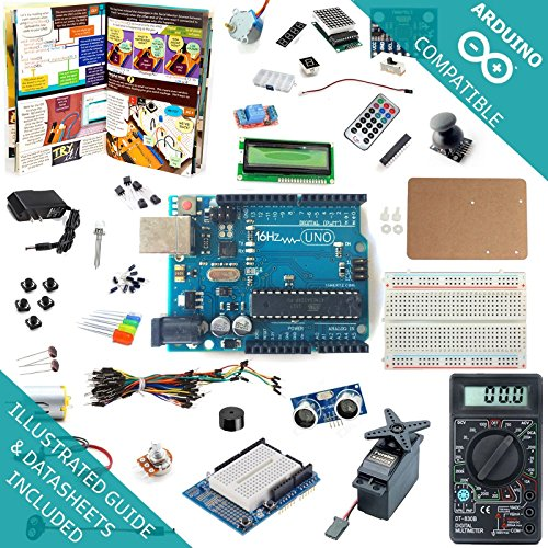 16Hertz UNO R3 Ultimate Starter Kit - LED, LCD, Breadboard, Shield, Relay, 9V Adapter, Sensor, Guide for Arduino