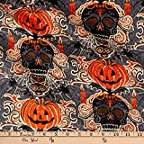 Fabric Traditions Halloween Skeleton and Pumpkin with Glitter, Multi