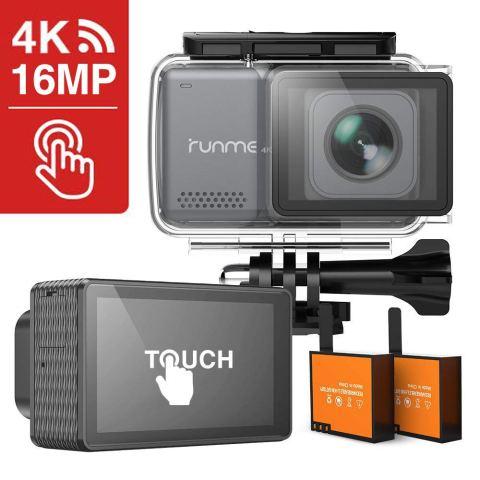 RUNME 4K アクションカメラ 2.45インチ 液晶タッチディスプレイ 日本製SONYセンサー使用 手ぶれ補正 170度広角レンズ 1080P 1600万画素 30m防水可能 WiFi機能搭載 HDMI出力 視角調整可能 メーカー12ヶ月安心保証 水中カメラ スポーツカメラ ウェアラブルカメラ バイク/自転車/車に取り付け可能 「RUNME R3」 (グレー)