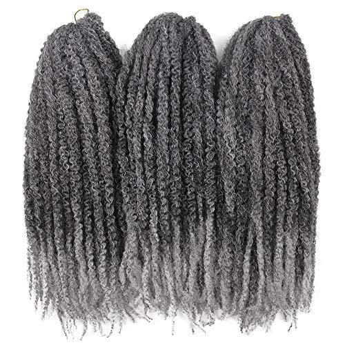 3Packs Afro Kinky Twist Crochet Hair Braids Marley Braid Hair 18inch Senegalese Curly Crochet Synthetic Braiding Hair (Ombre Grey)